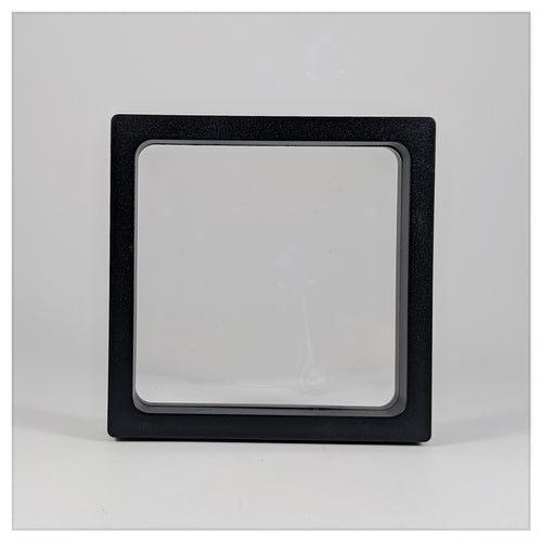 Square - 4.3 inch - 3D Floating Frame 2-Sided Display Case - Black
