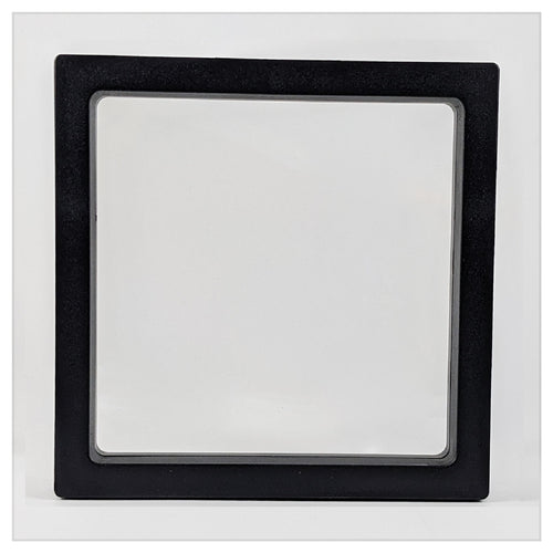 Square - 7.1 inch - 3D Floating Frame 2-Sided Display Case - Black