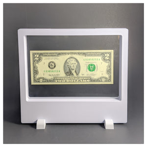 "Label Area - 7.9"" x 7.1"" - 3D Floating Frame 2-Sided Display Case - White"