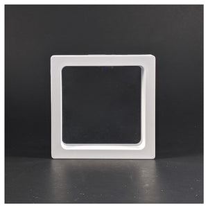 Square - 3.5 inch - 3D Floating Frame 2-Sided Display Case - White