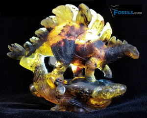 Stegosaurus Carving in Chiapas Amber (Mexico)