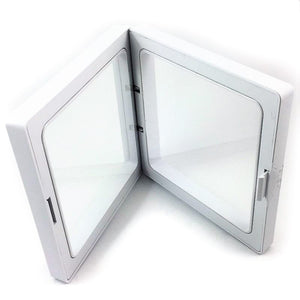 Square - 7.1 inch - 3D Floating Frame 2-Sided Display Case - White