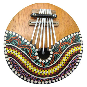 Thumb Piano African Indigenous  7 Tone Kalimba Hand Painted Coconut Shell Mbira Free shipping