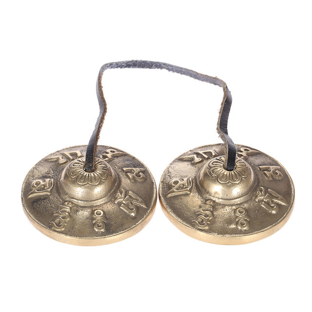 Tingsha Cymbal Bell H2.6in/6.5cm Handcrafted Tibetan Meditation Tingsha Cymbal Bell with Buddhist Lucky Symbols