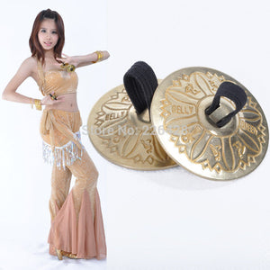 2017  2 Pair (4 Piece) Belly Dance Grain Pattern Pure Copper Finger Cymbals Zills