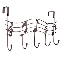 Over the Door 5 Hook Music Hanger Rack No Trace No Nails- Decorative Metal Hanger Space Saving Organizer for Your Clothes Coats