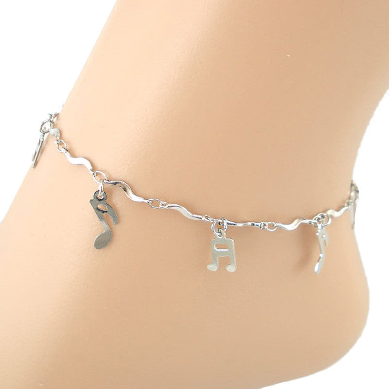 Curve Musical Symbol Anklet Bracelet Sandal Barefoot Beach Foot Jewelry