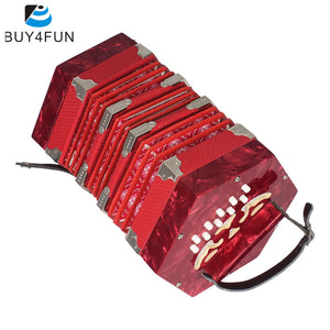 High Quality Concertina Accordion 20-Button 40-Reed Anglo Style with Carrying Bag and Adjustable Hand Strap