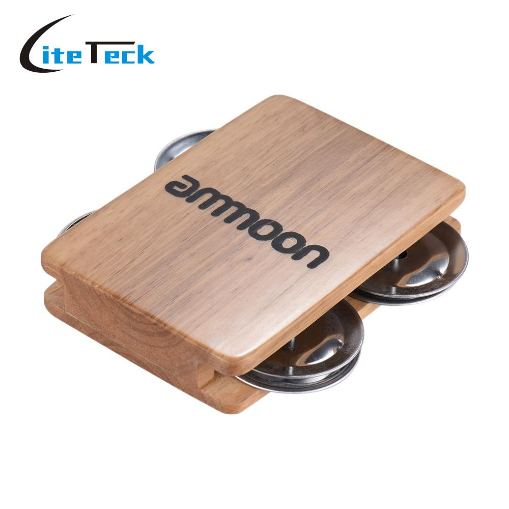 ammoon 4-bell Jingle Castanet Cajon Box Drum Companion Accessory for Hand Percussion Instruments