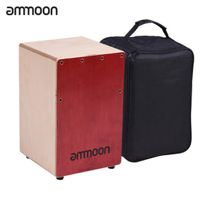 ammoon Children Kids Wooden Cajon Box Drum Hand Drum Percussion Instrument Birch Wood with Adjustable Strings Carrying Bag