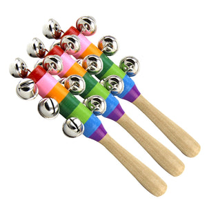 3pcs Baby Kids Toys Jingle Bell Christmas Hand Jingle Bells Children Musical Instrument with Wood Handle