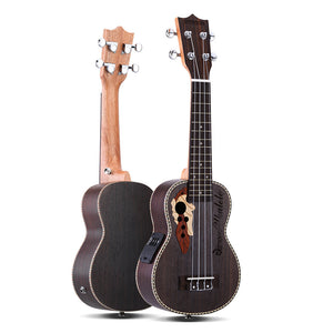 "ammoon Spruce 21"" Acoustic Ukulele 15 Fret 4 Strings Stringed Musical Instrument with Built-in EQ Pickup"