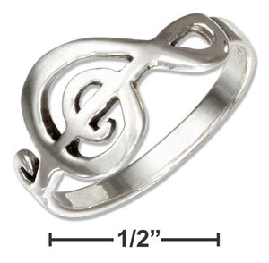 Sterling Silver Musical G-clef Ring