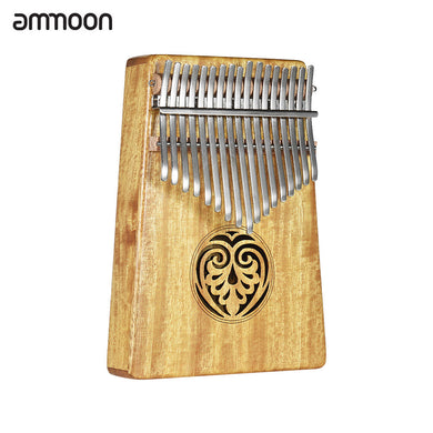 ammoon Kalimba Mbira Thumb Piano Sanza 17 keys Solid Wood Finger Piano with Carry Bag Music Book Musical Scale Stickers Tuning Hammer Musical Gift Easy-to-learn AKP-17L