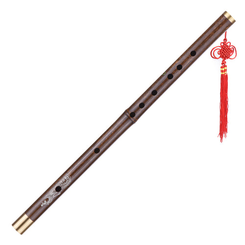 Professional Black Bamboo Dizi Flute Traditional Handmade Chinese Musical Woodwind Instrument Key of C Study Level