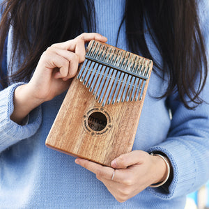 ammoon Thumb Piano Kalimba Mbira Sanza 17 Keys Swartizia Spp Solid Wood with Carry Bag Music Book Musical Scale Stickers Tuning Hammer Musical Gift AKP-17H