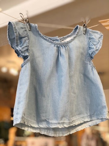 Chemisier à volants Denim pâle, 12-18M