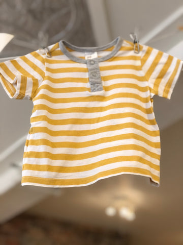 T-Shirt Rayures Moutarde/Blanc, 2-4M