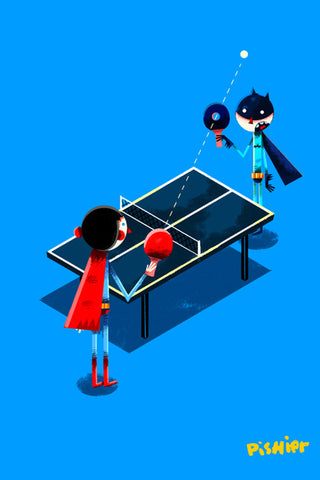 Illustration décorative encadrée Ping Pong Duel