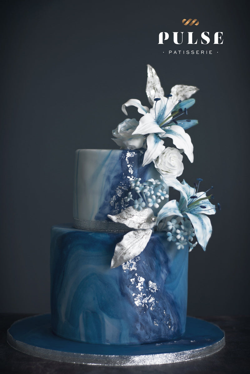 Blue Lily Flower Wedding Pulse Patisserie