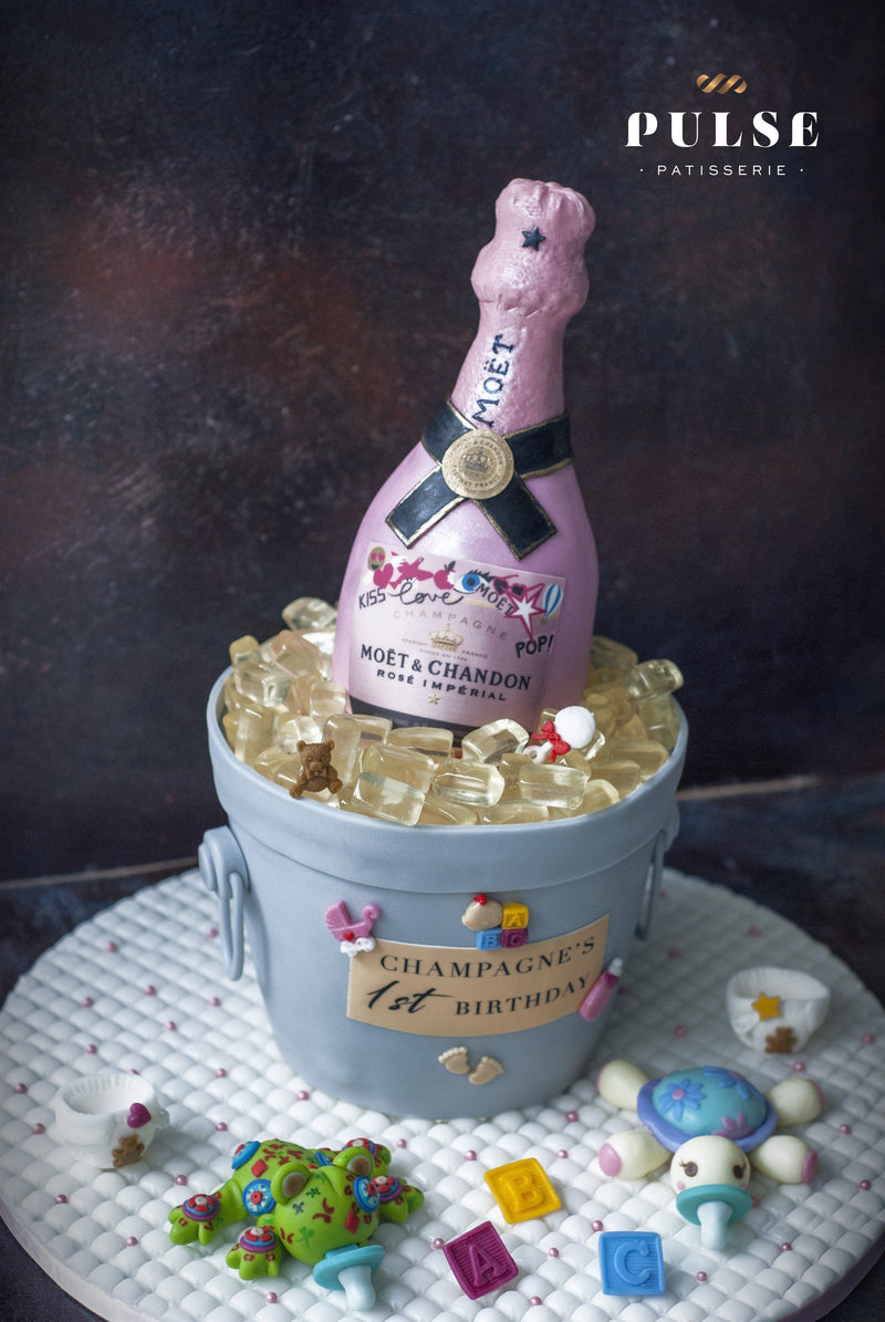 Champagne Bottle Customized 3 Weeks Pulse Patisserie
