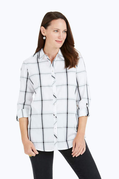Zoey Wrinkle-Free Windowpane Plaid Shirt