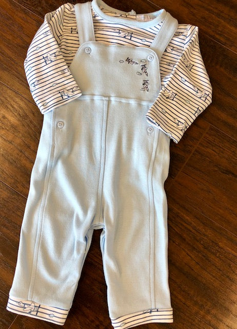 Soft Blue Sweet Airplane Overall Outfit