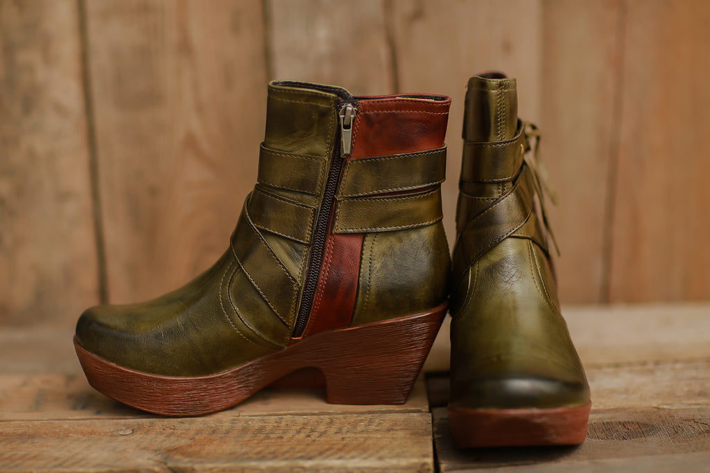 Sass With Class Ankle Boot (Olive & Brown) ~ 610