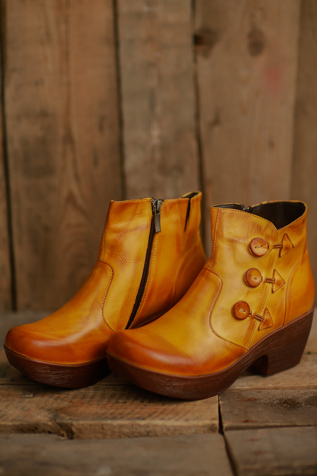 On-Trend Button Boot (Yellow) ~ 615