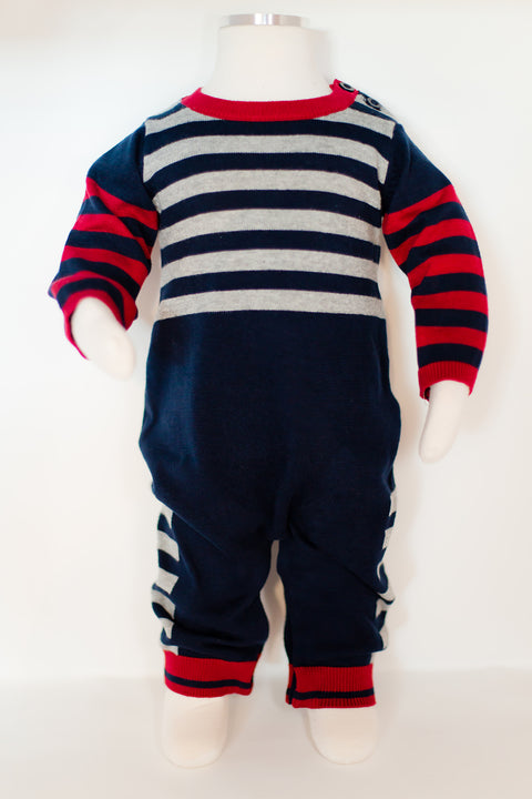 Stripe and Solid Navy Sweater Knit Coverall