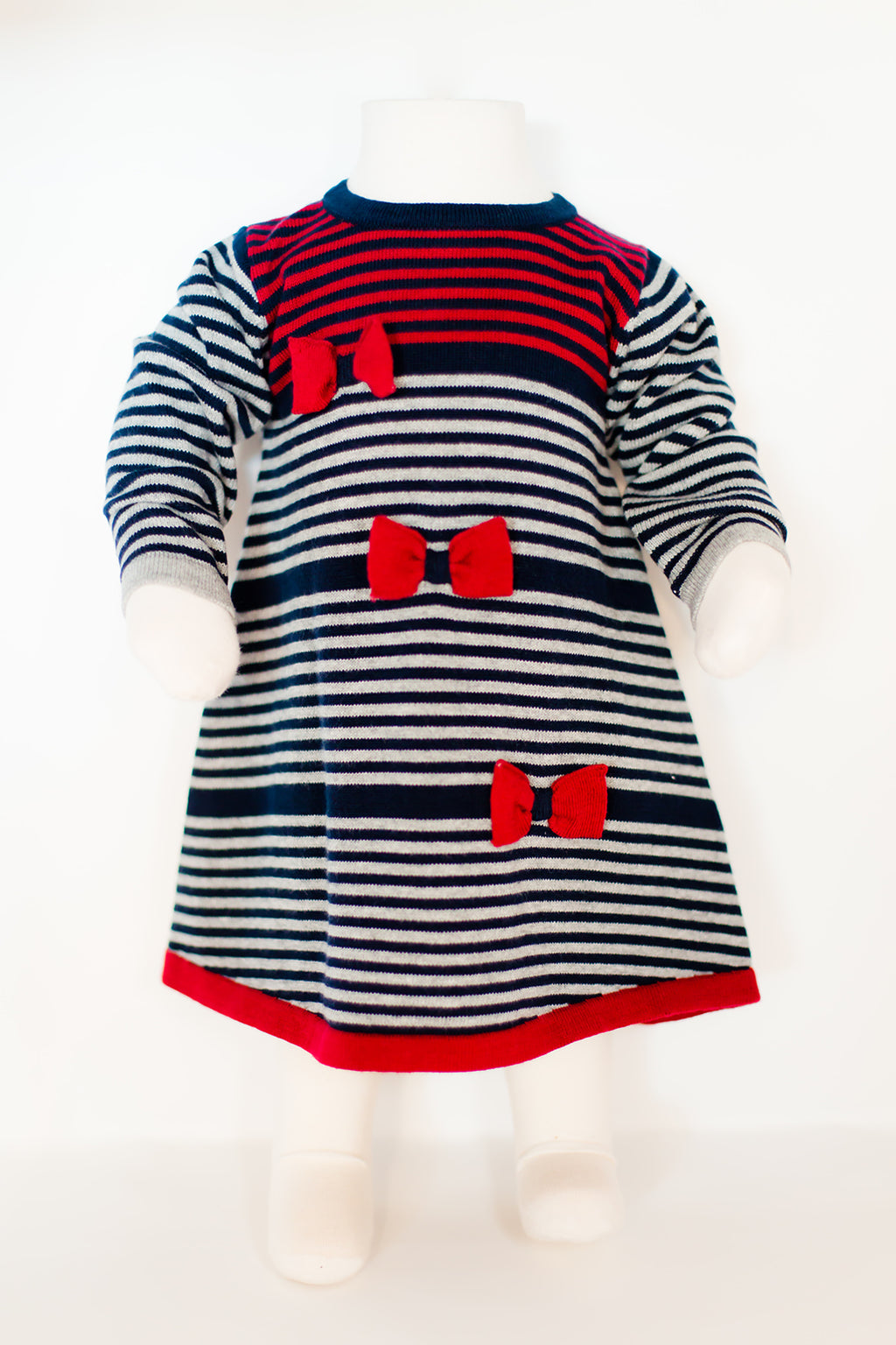 Stripe A-line Navy Knit Outfit