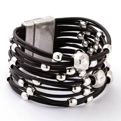 Silver Collection  Leather Bracelet ~ MB670B