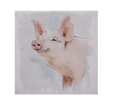 "18"" Square Canvas Wall Decor With Pig"
