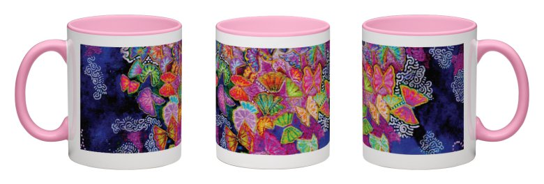 Butterfly Bloom Accent Mug - Pink Interior
