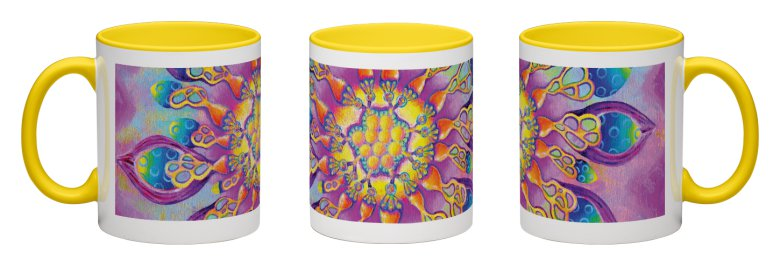 Flowerlicious Accent Mug - Yellow Interior