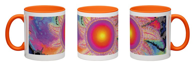 Kaleidoscope Sun Accent Mug - Orange Interior