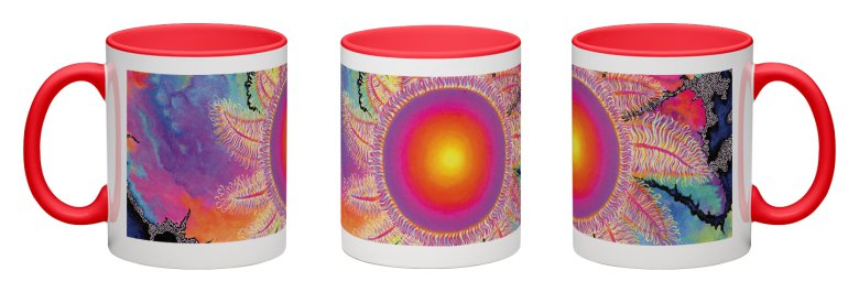 Kaleidoscope Sun Accent Mug - Red Interior