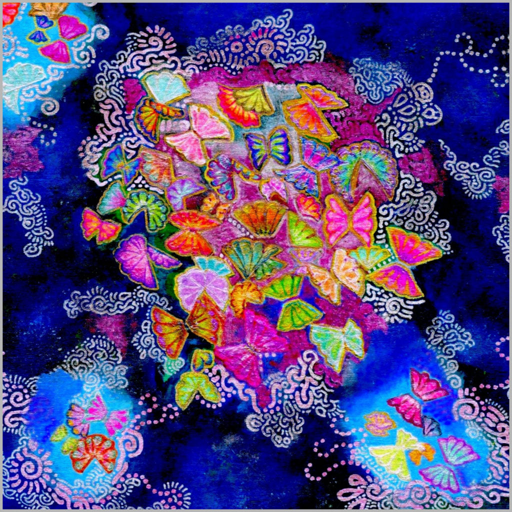 Butterfly Bloom Art Print 10 x 10 inch