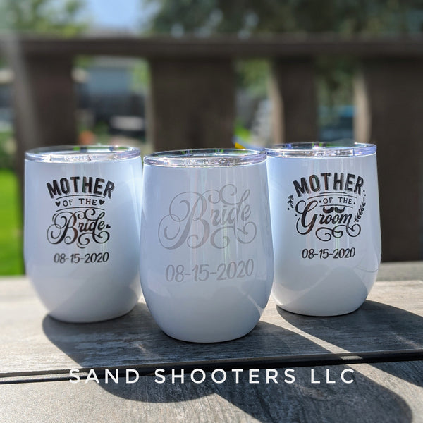Wine Tumbler, Set of 3, Bride/Mother of the Bride/Mother of the Groom
