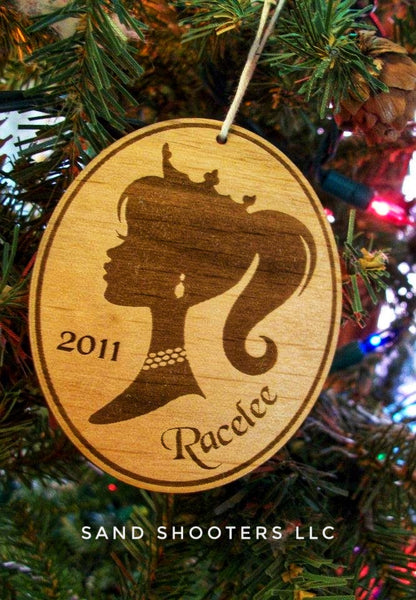Personalized Princess Laser Cut Wood Christmas Ornament