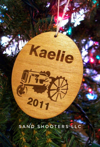 Personalized Tractor Laser Cut Wood Christmas Ornament