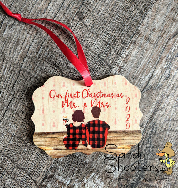 Newlywed Christmas Ornament ~ Watercolor Family