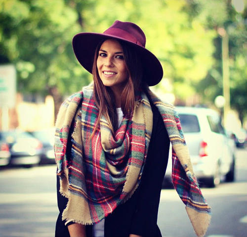 Plaid Cashmere Scarf Style: Square