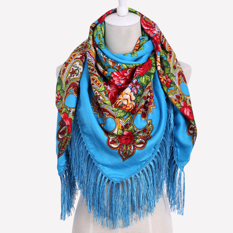 Russian Cotton Long Tassel Printed Scarf
