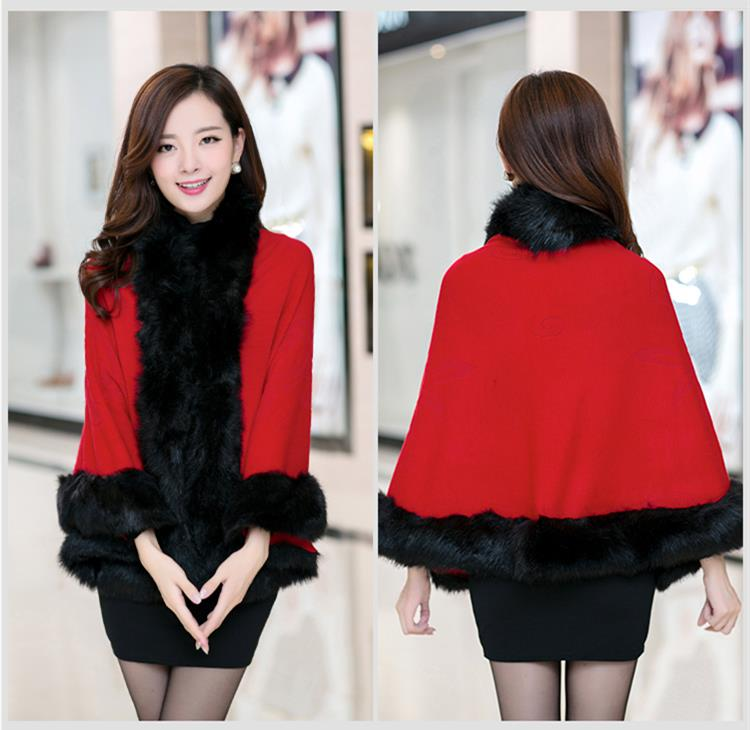Fox Fur and Wool Poncho Cape ( 12 Colors)