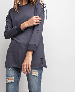 Distressed Open sleeve Top