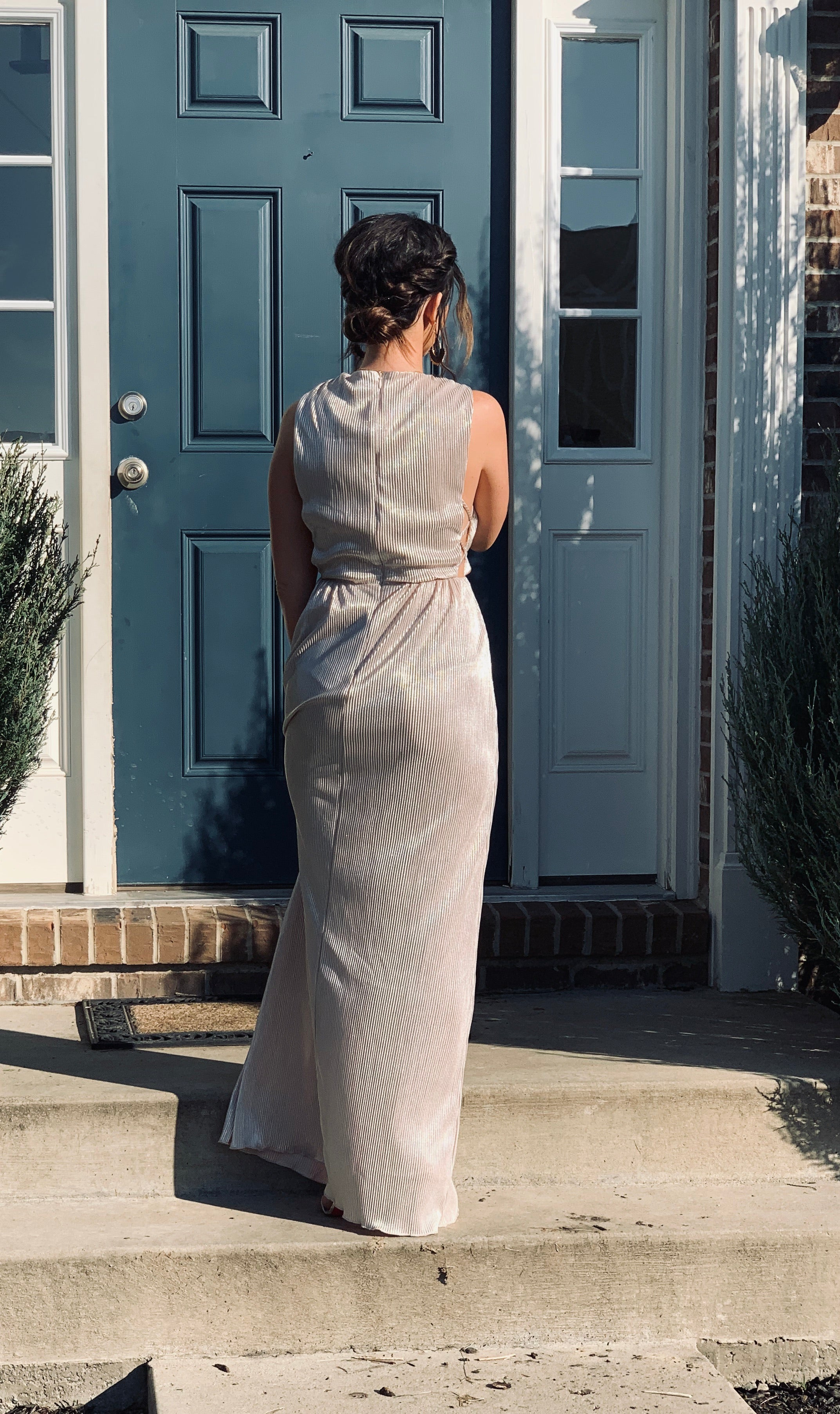 Metallic Cut-out Gown