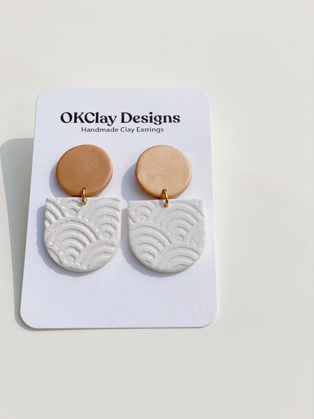 White + Copper Texture Earrings