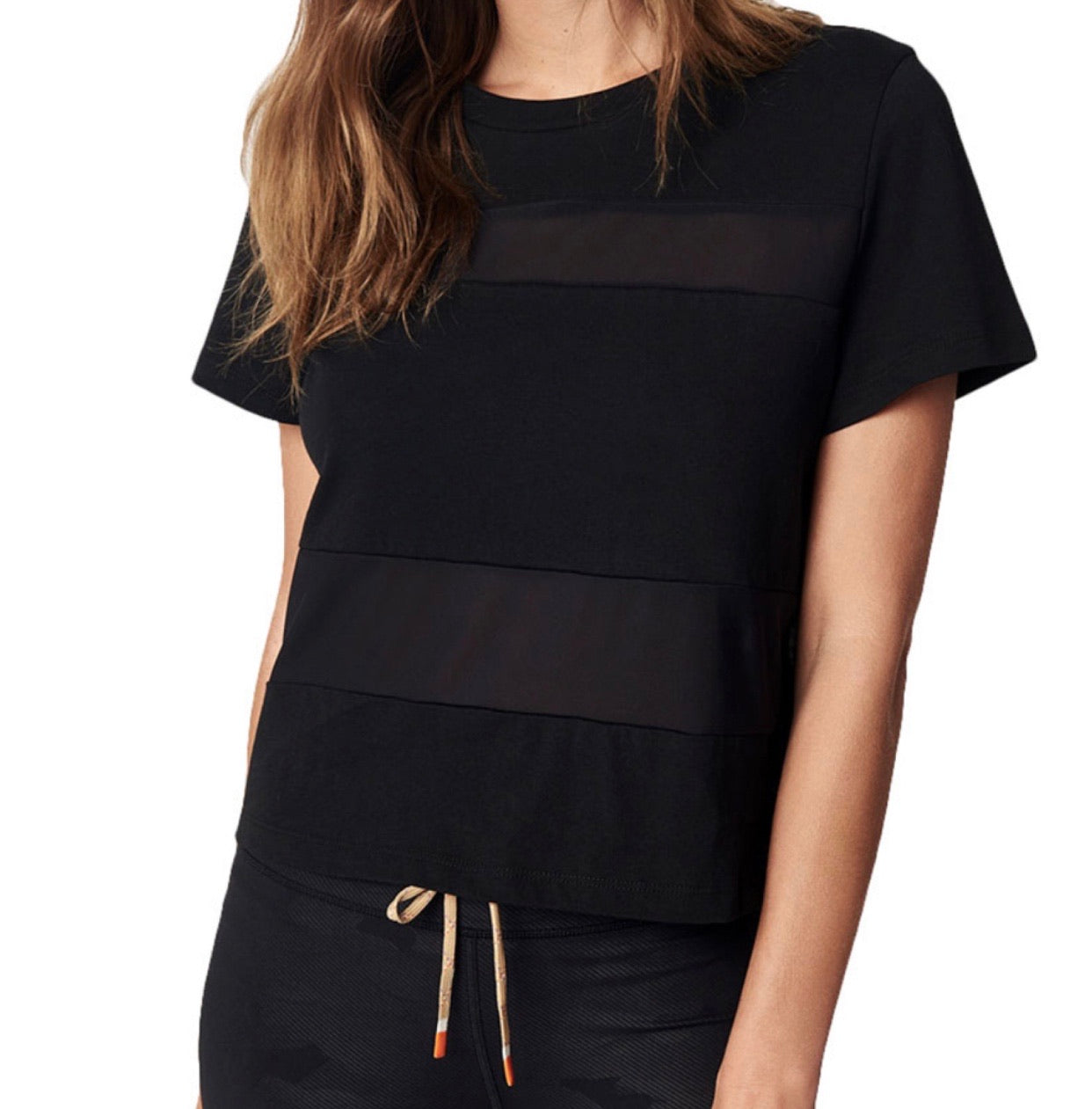 Black All Hours Panel Crop Tee