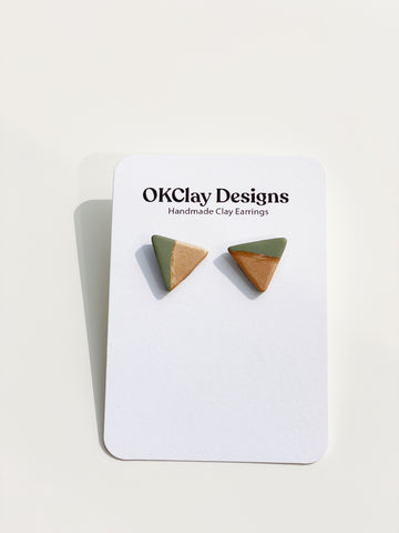 Olive + Copper Studs